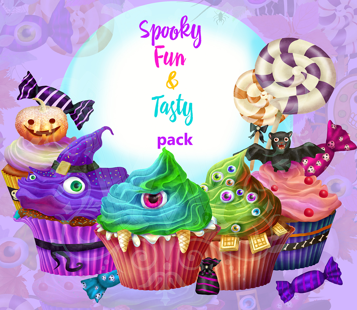 Cute Halloween monster sweets clipart set with wreath example image 10