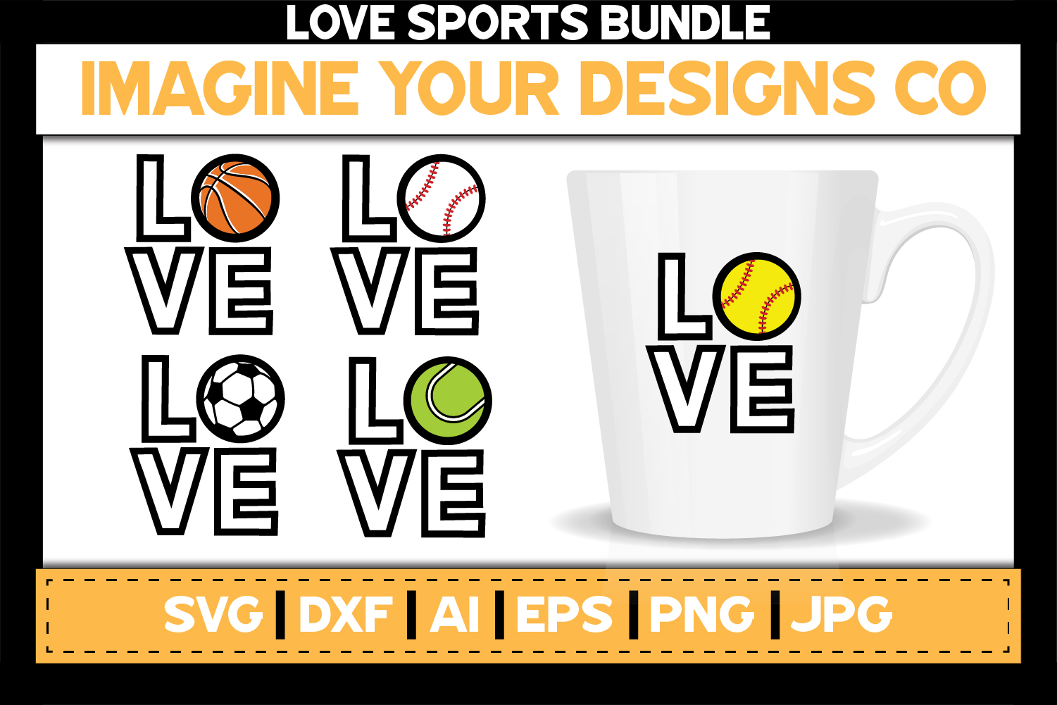Love Sports SVG Bundle, Baseball, Basketball, Soccer, Tennis example image 1