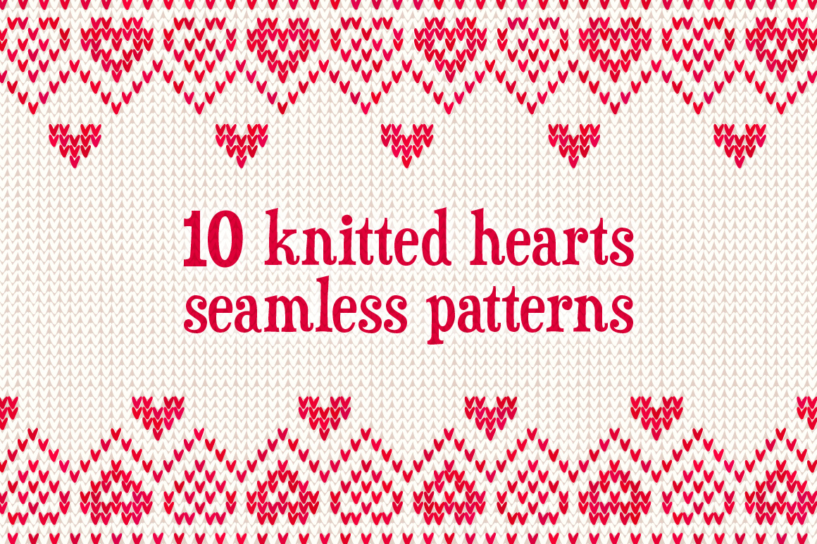 10 knitted hearts seamless patterns example image 1