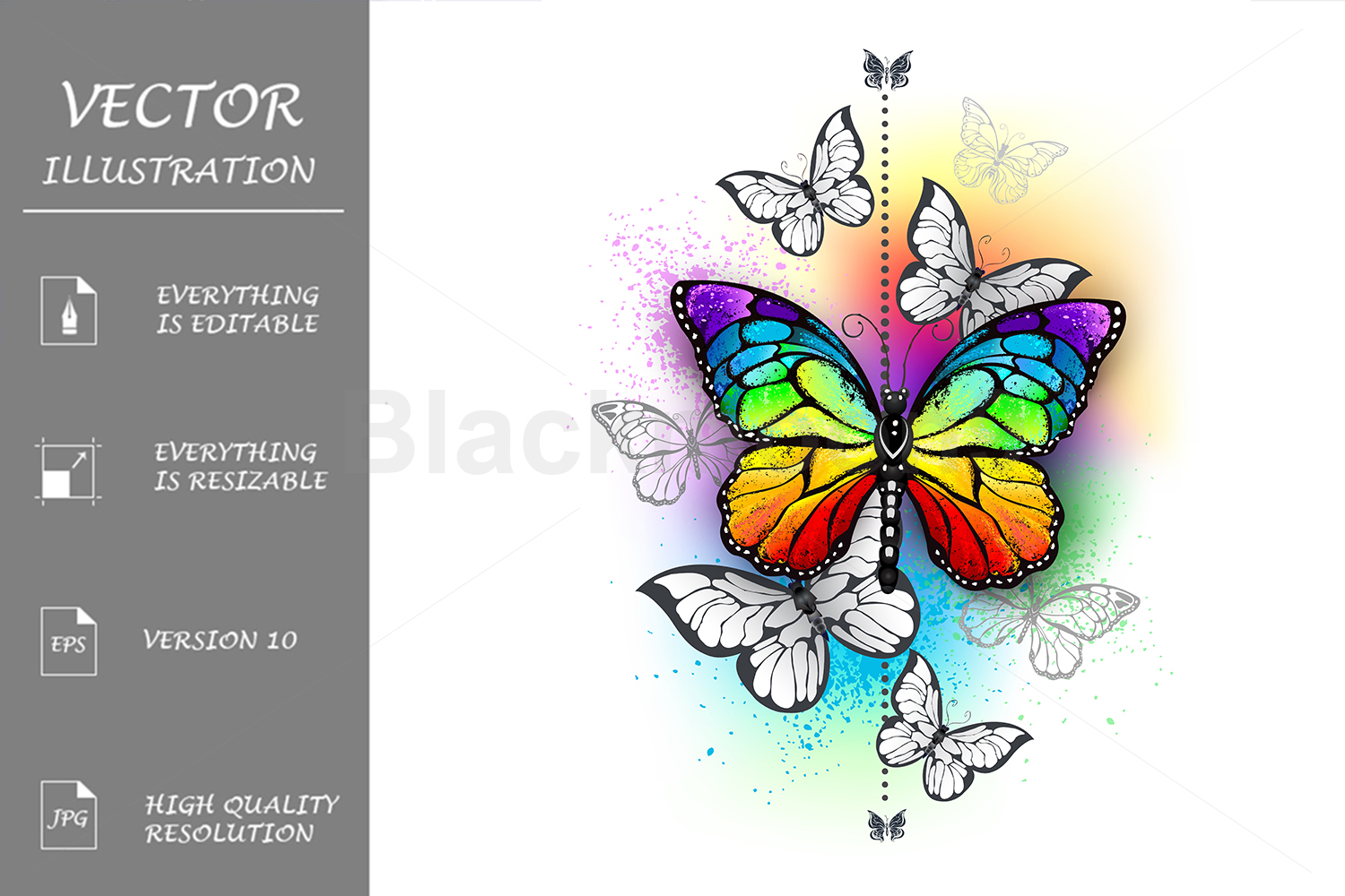 Composition with Rainbow Butterfly example image 1