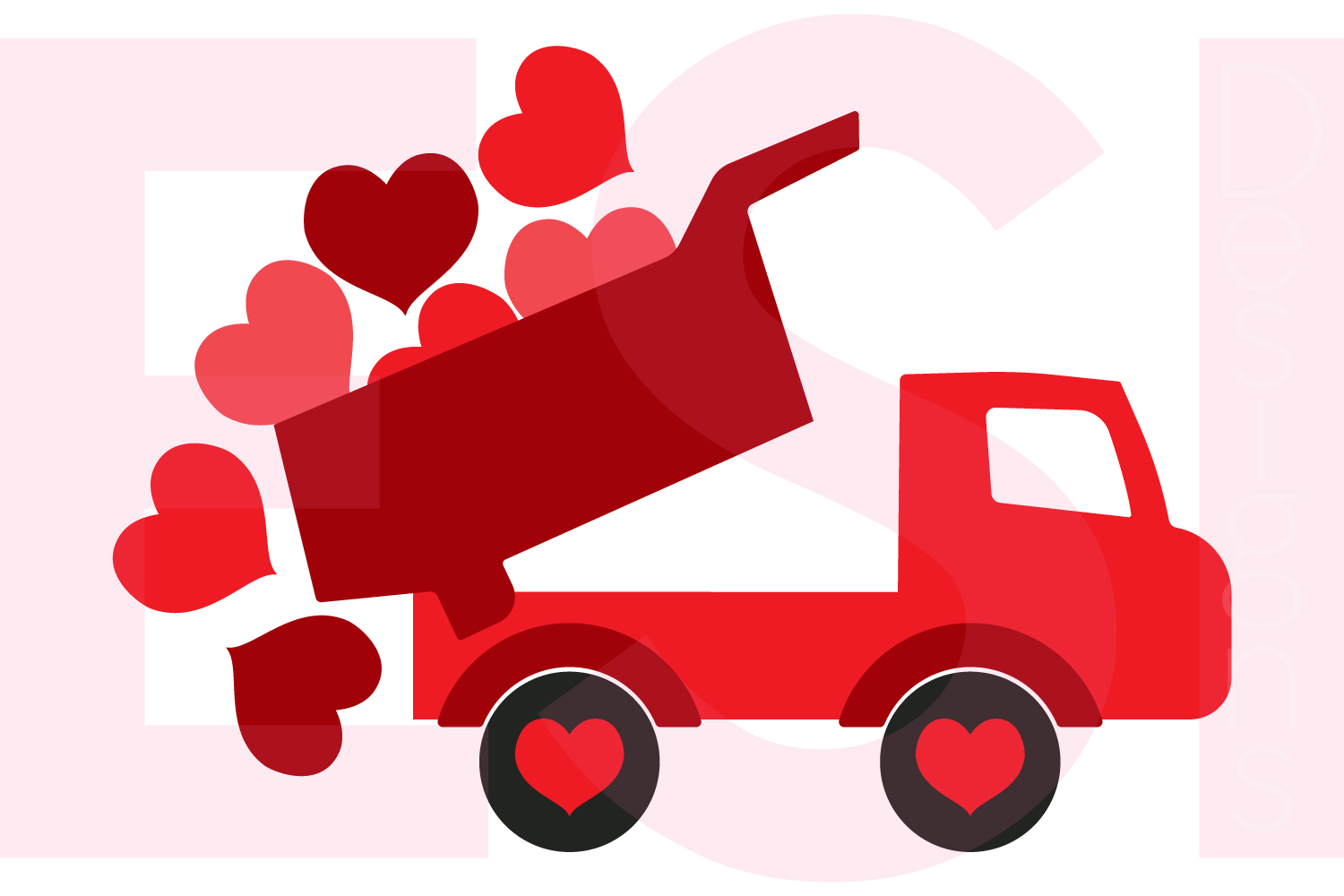 Truck with Falling Hearts Design example image 1