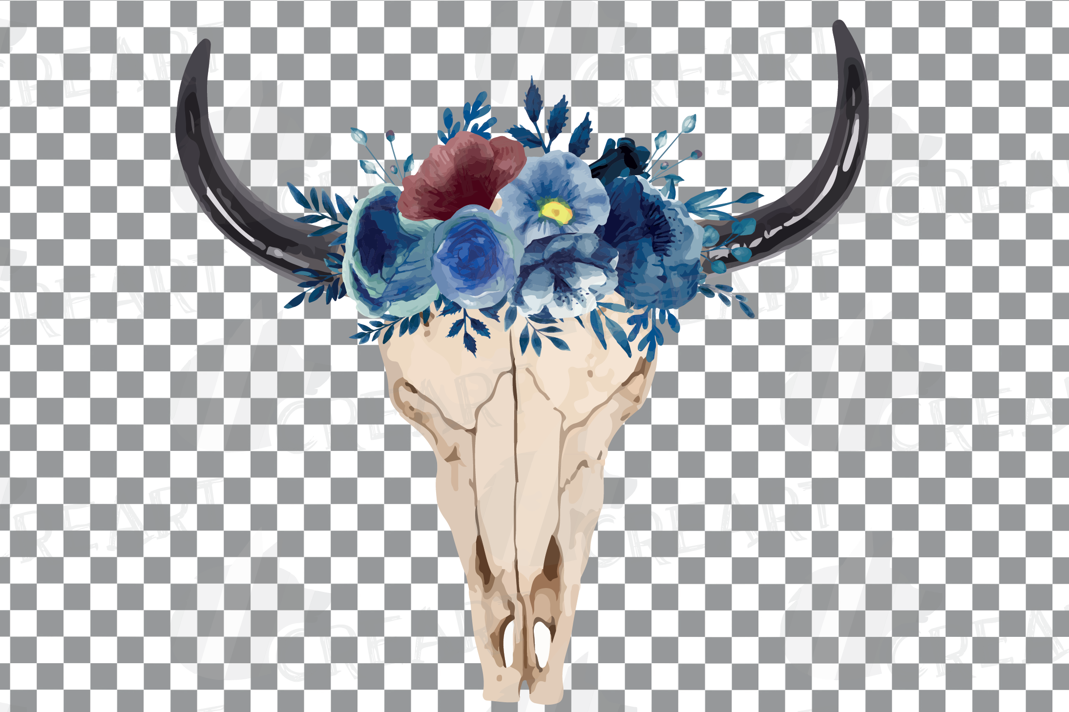Navy blue watercolor floral bull skull clipart, tribal decor example image 2