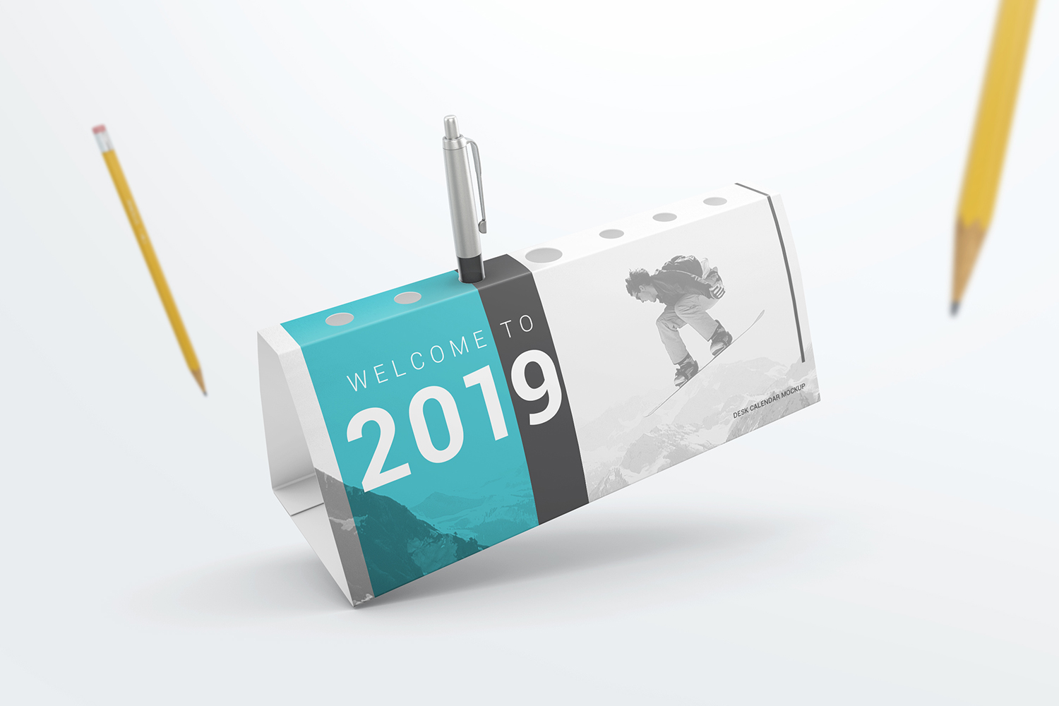 Desk Calendar Pen Holder Mockup example image 5