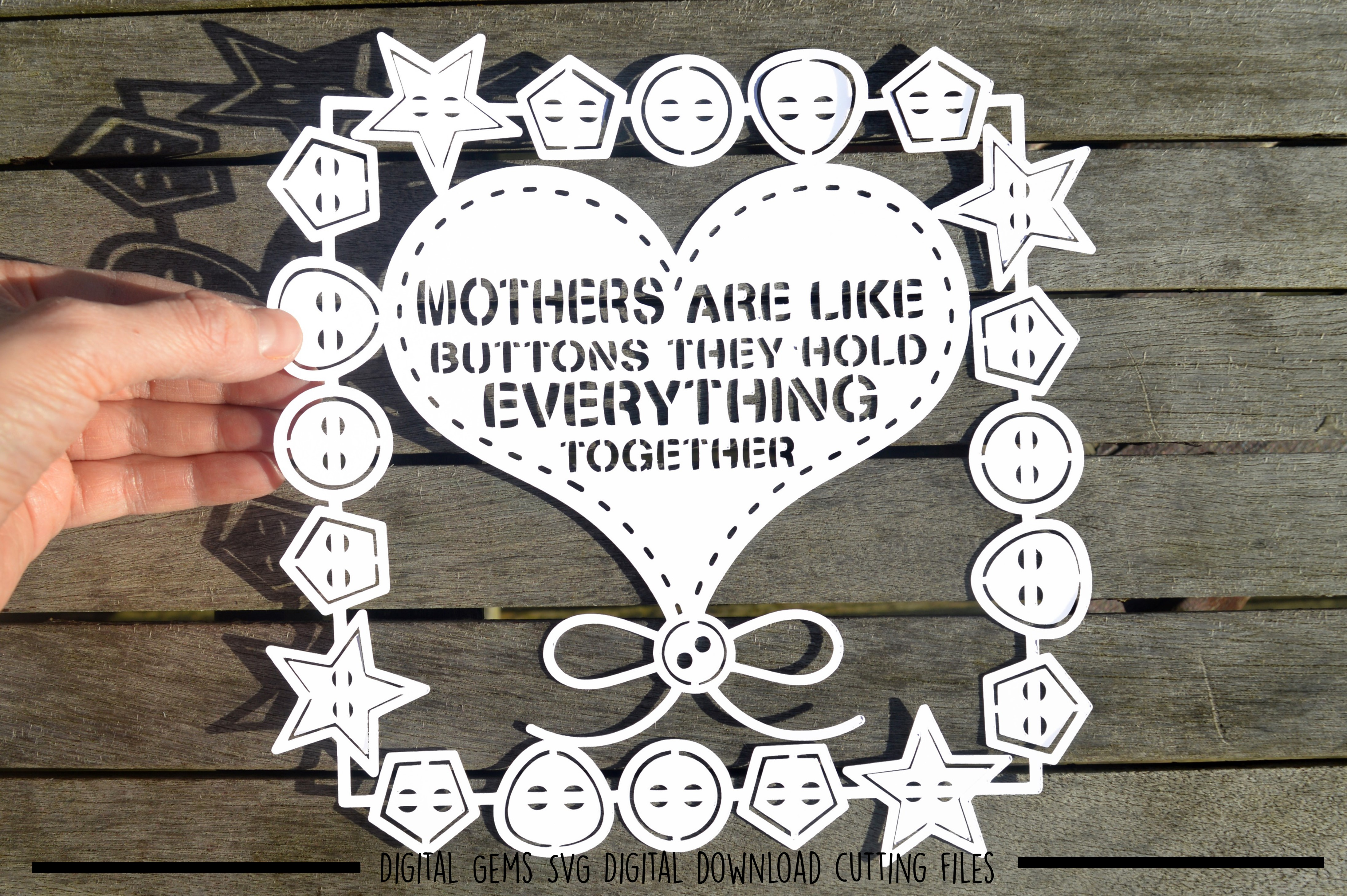 Mothers are like buttons paper cut SVG / DXF / EPS files example image 1