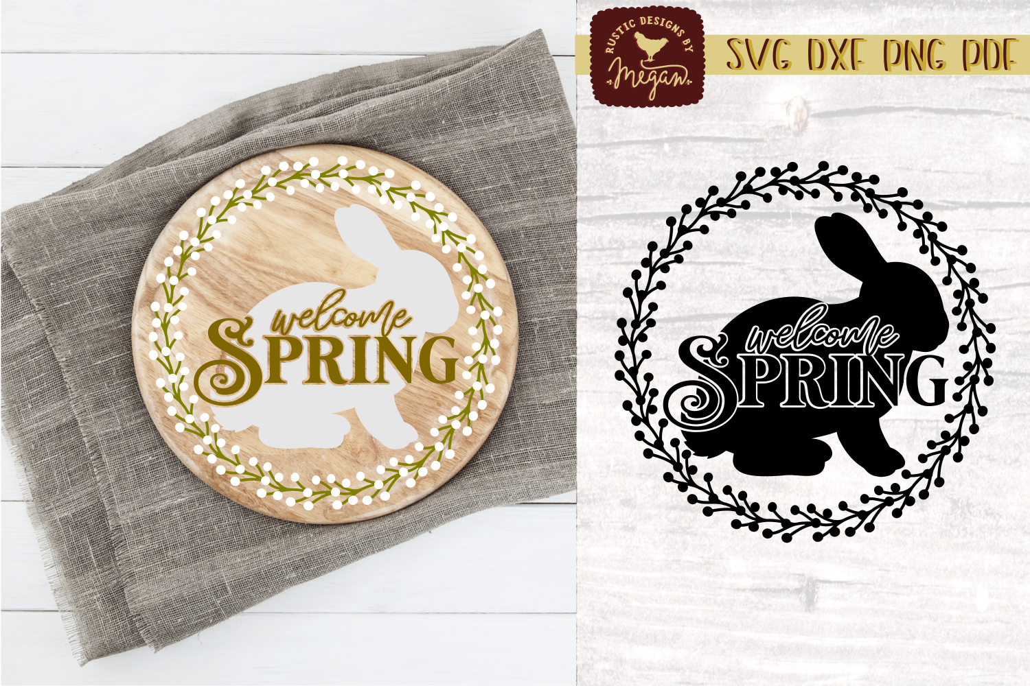 Welcome Spring Easter Bunny SVG DXF Cut file COMM example image 1