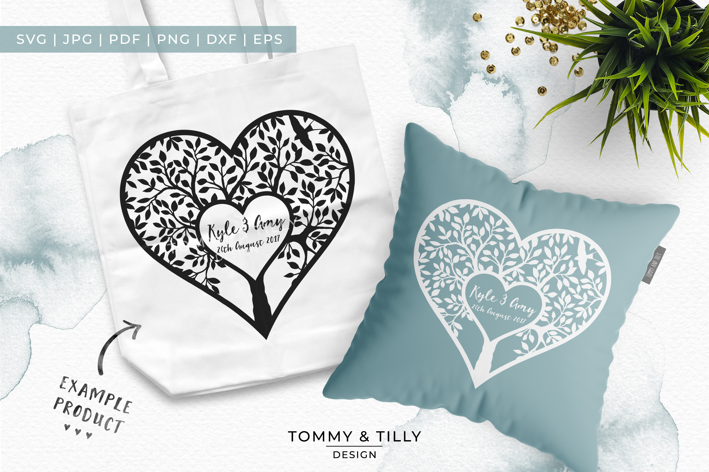 Monogram Heart Tree x 3 - Papercut Template SVG EPS DXF PNG example image 2