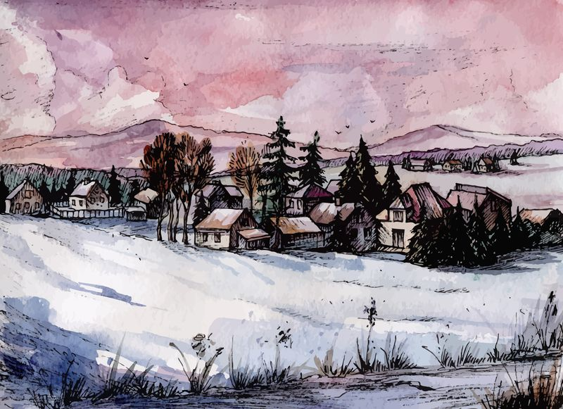 Countryside Watercolor Landscapes example image 5