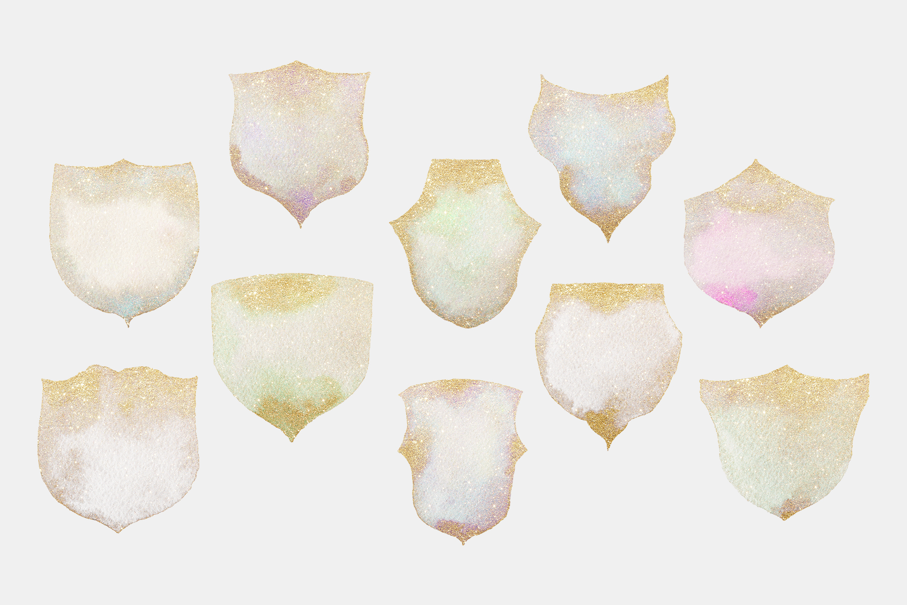 Gold glitter watercolor crests, hand painted green crests example image 5