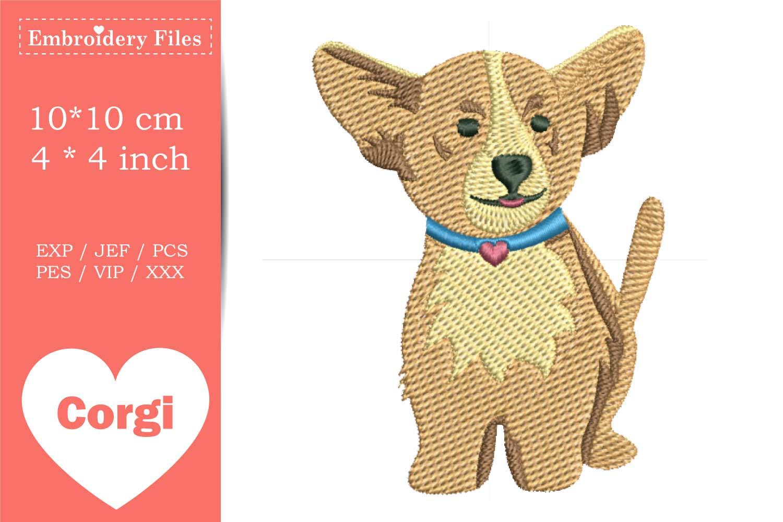 Cute little Corgi Dog - Embroidery File example image 1