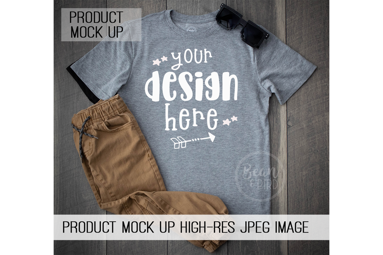 Kids Grey Shirt Mock up Product Mock Up example image 1