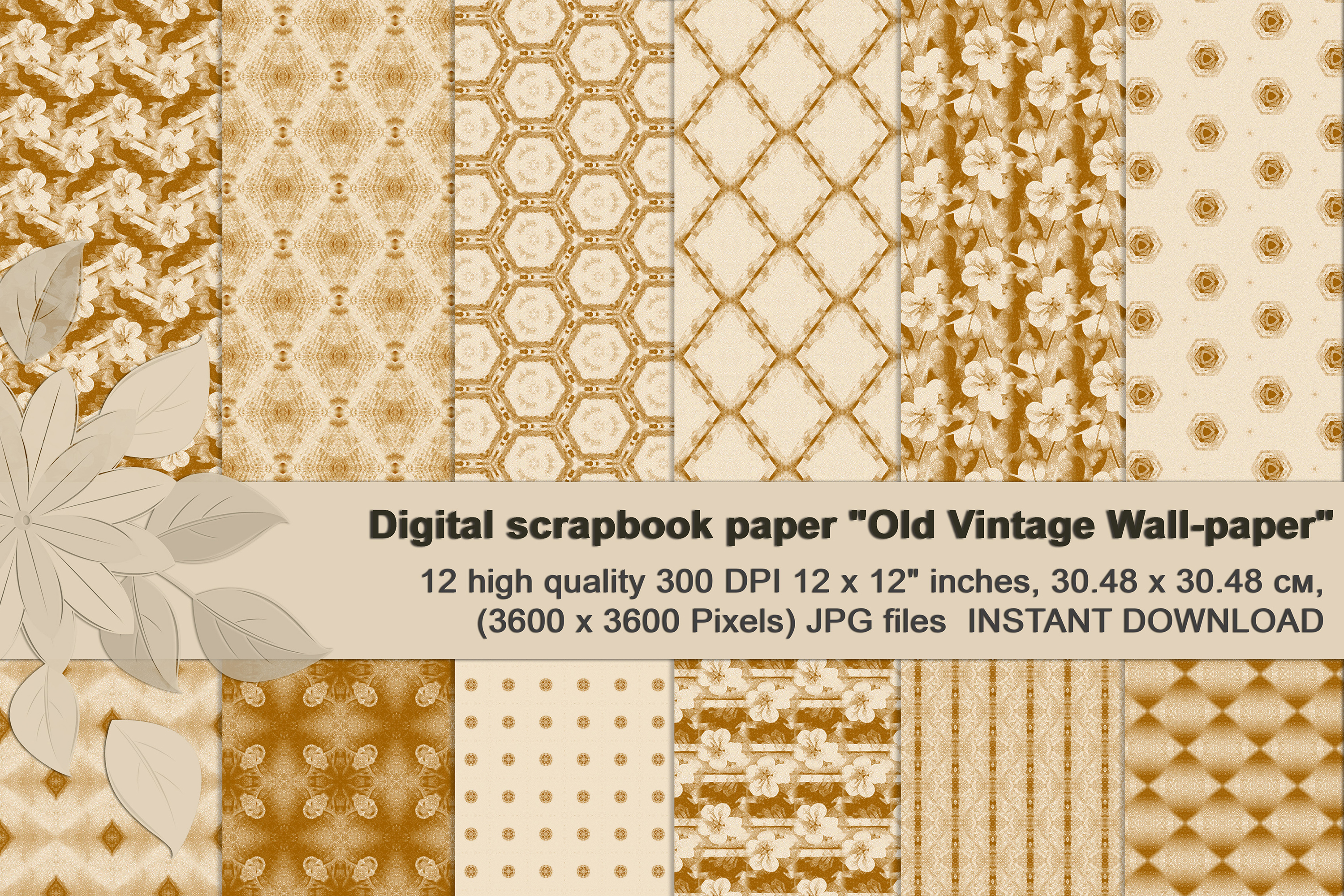 Ancient white-beige floral and geometrical Scrapbook Paper. example image 1