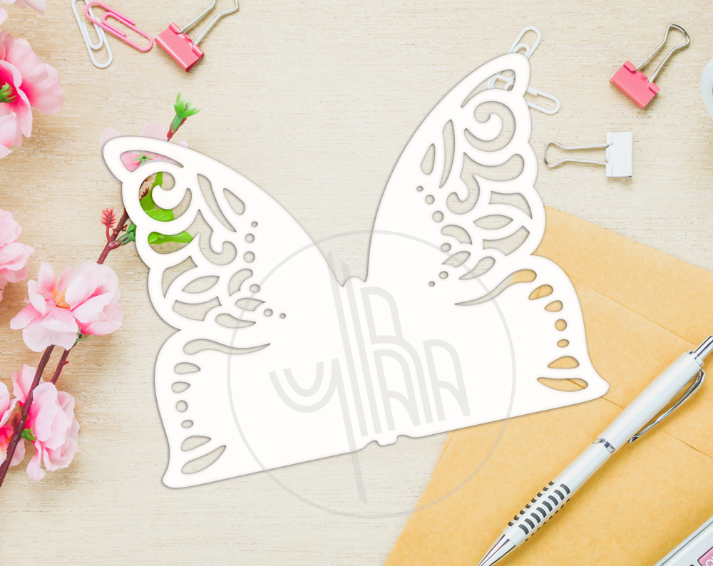 Butterfly papercut tempelate, SVG cutting file example image 4
