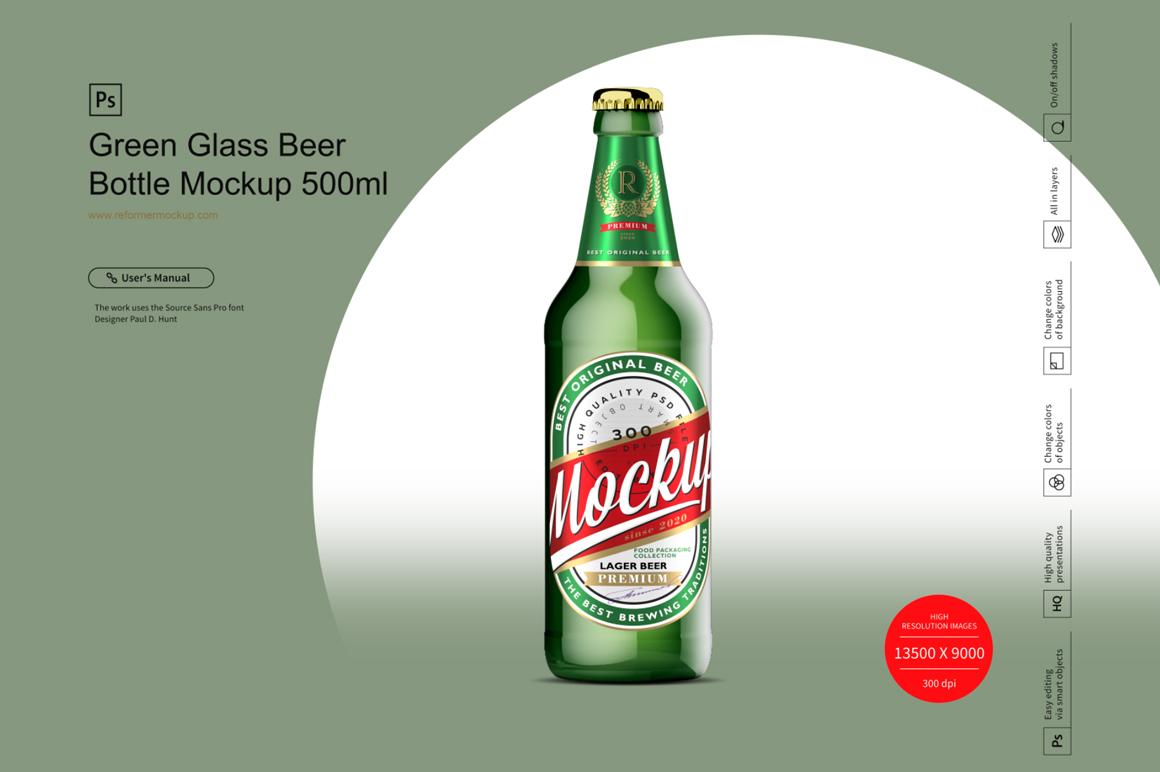 Green Glass Beer Bottle Mockup 500ml example image 1
