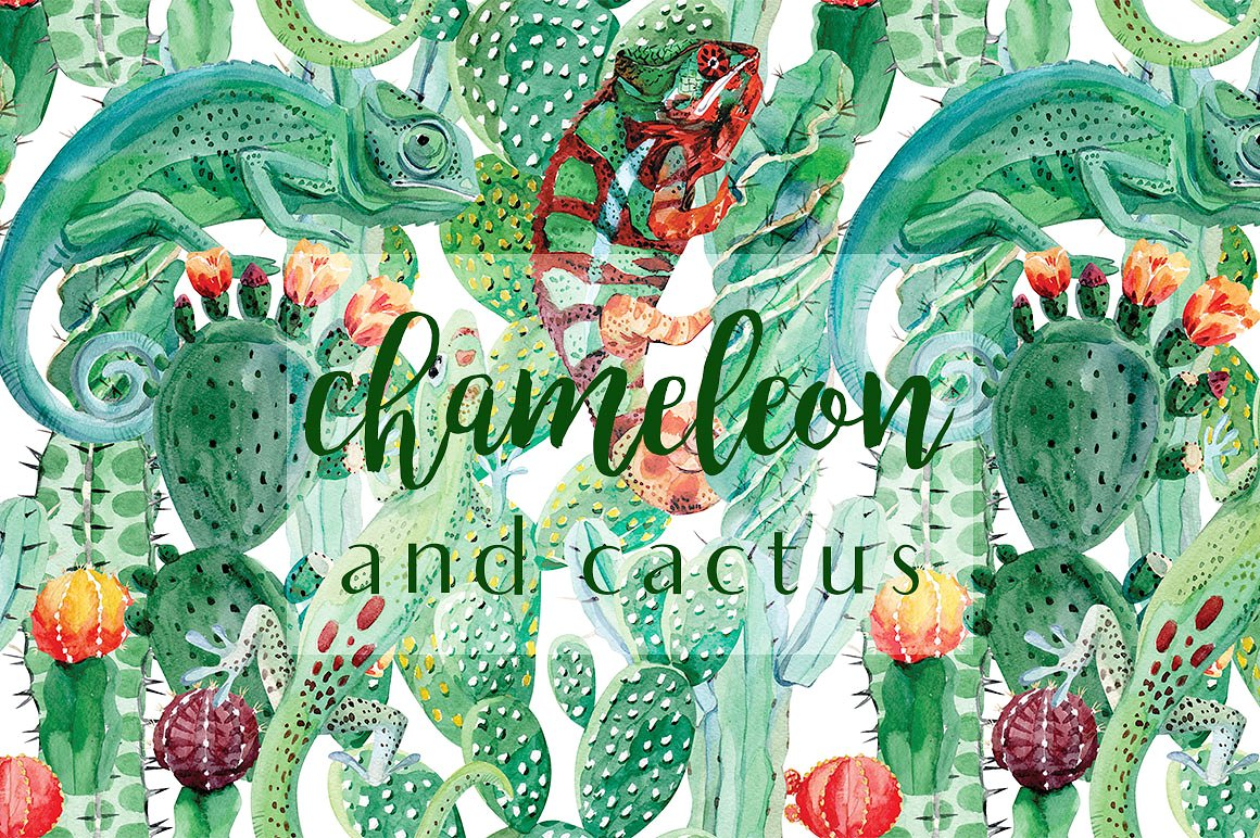 Chameleon and cactus. Watercolor set example image 1