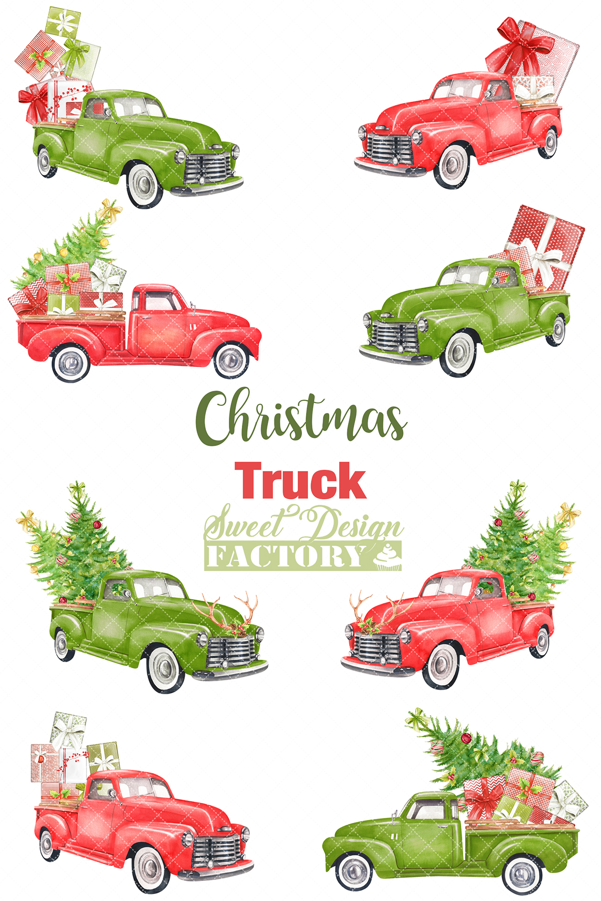 Watercolor Christmas retro truck clipart example image 2