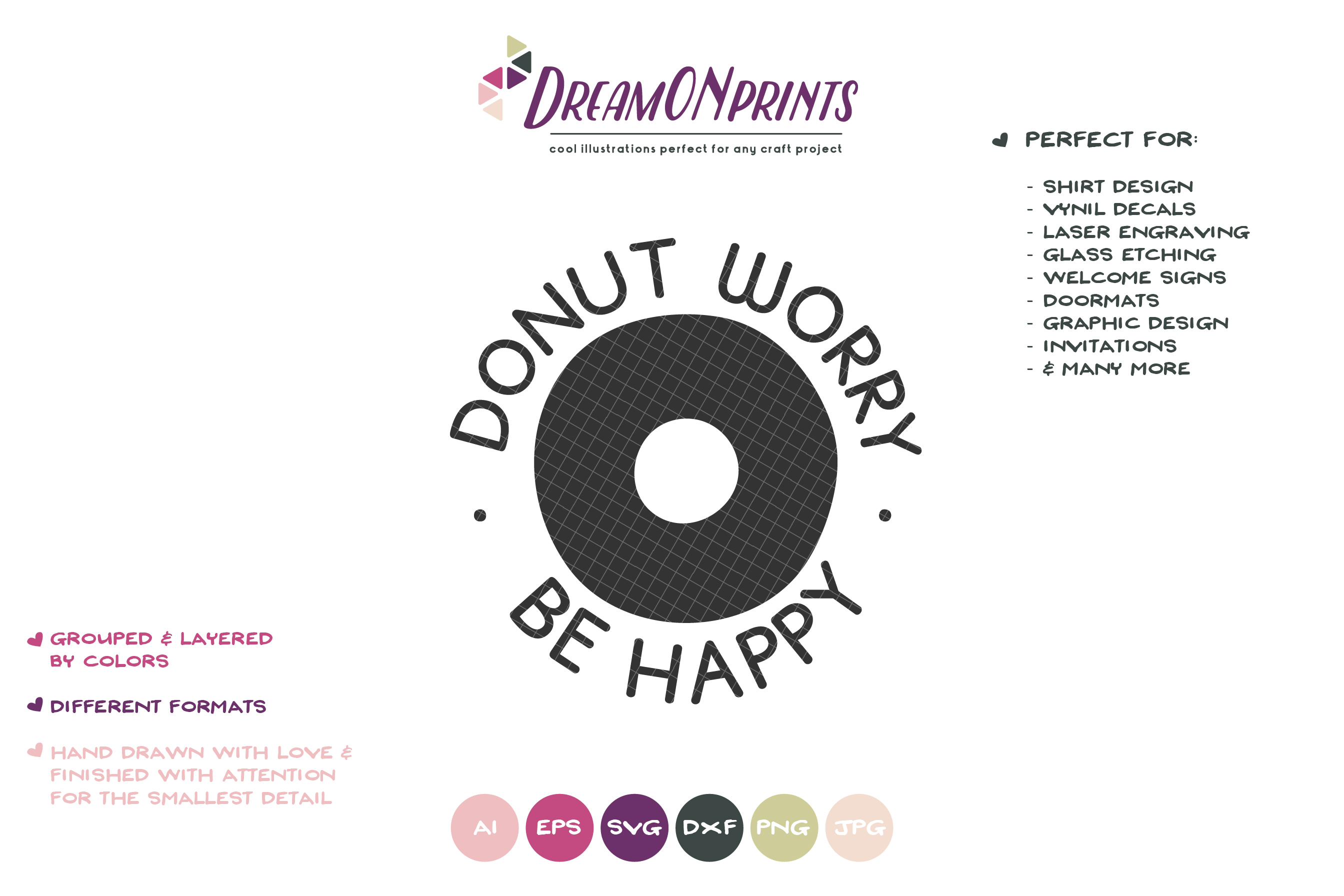 Donut Worry Be Happy SVG - Kitchen Sign SVG example image 2