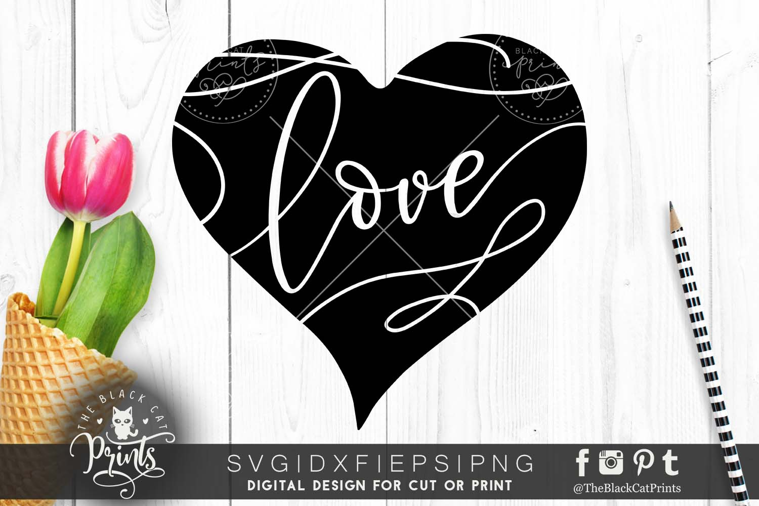 Love & Heart SVG DXF PNG EPS example image 1