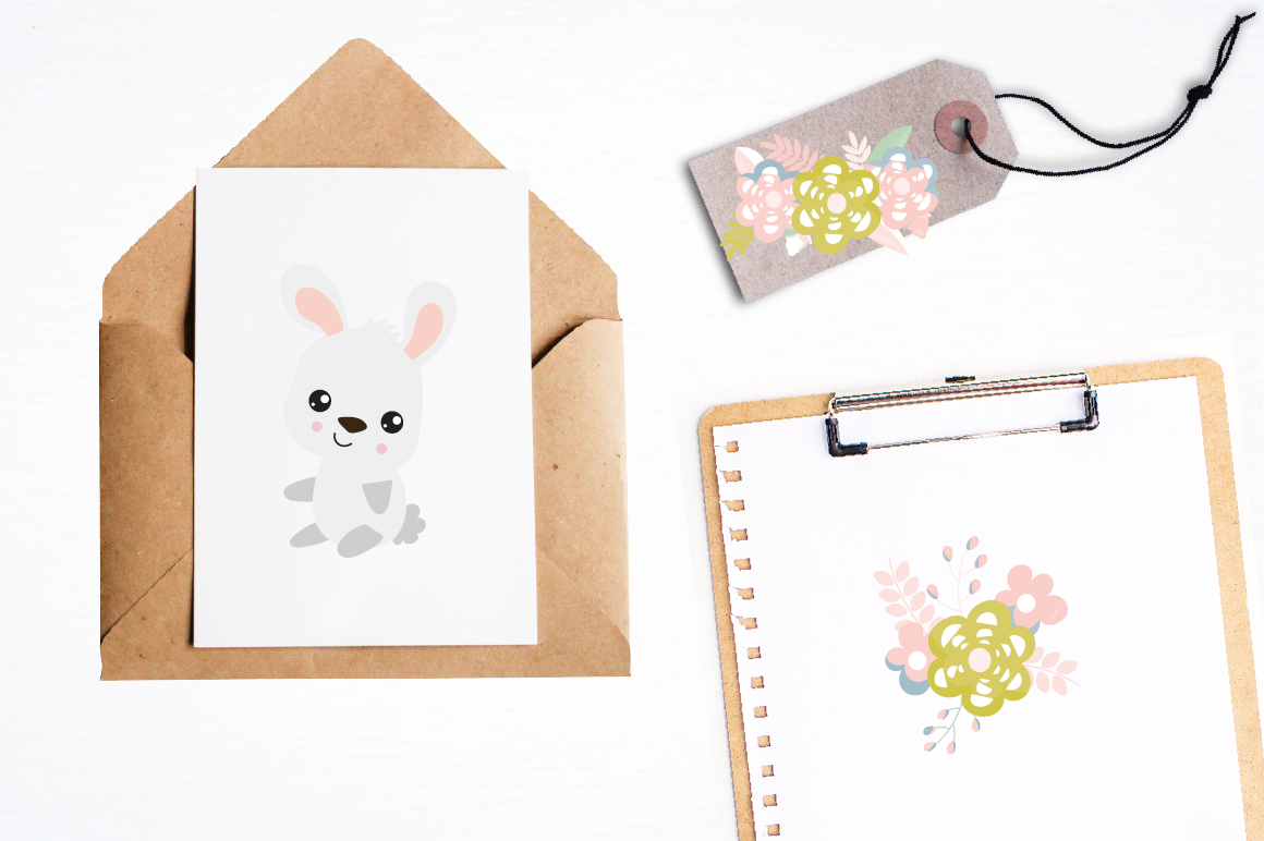 Floral Bunnies graphics and illustrations example image 4