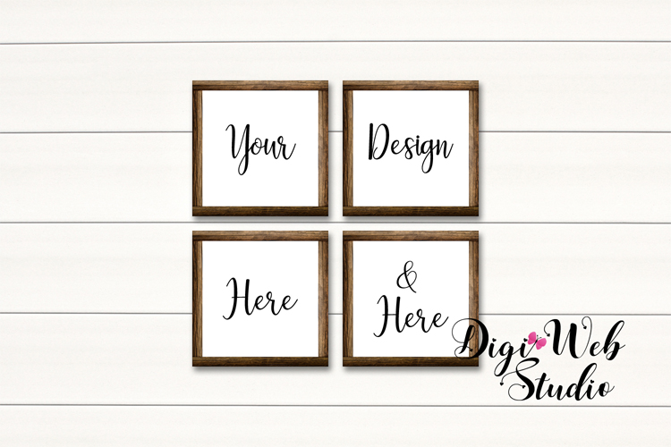 Wood Signs Mockup Bundle - 10 Wood Frames on White Shiplap example image 11