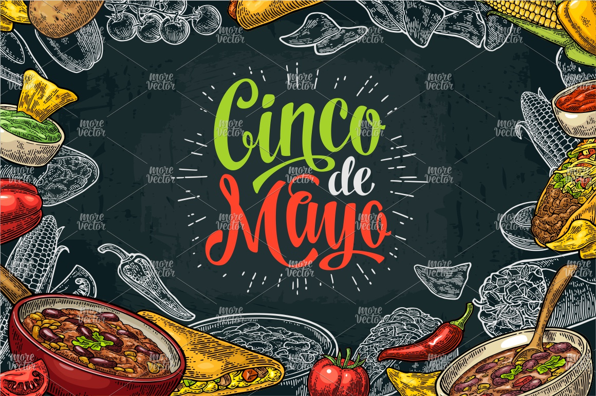 Cinco de Mayo lettering and mexican food. Vector engraving example image 3