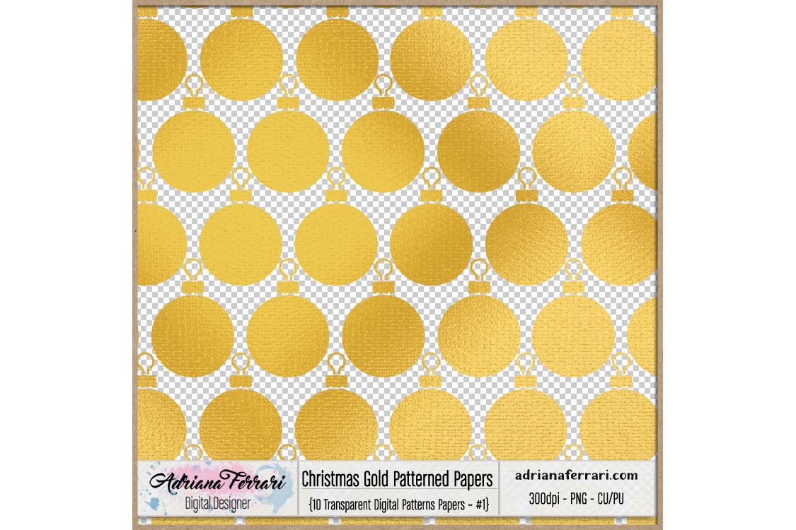 Christmas Gold Patterned Papers - Patterns 1 example image 2