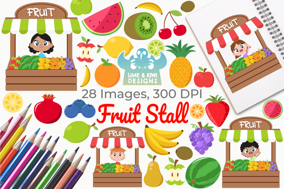 Fruit Stall Clipart, Instant Download Vector Art example image 1
