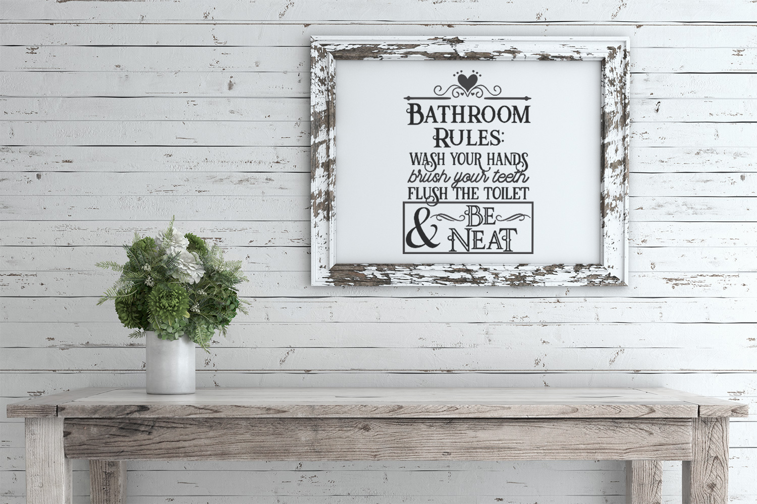 Bathroom Rules Sign SVG DXF PNG Cut File example image 2