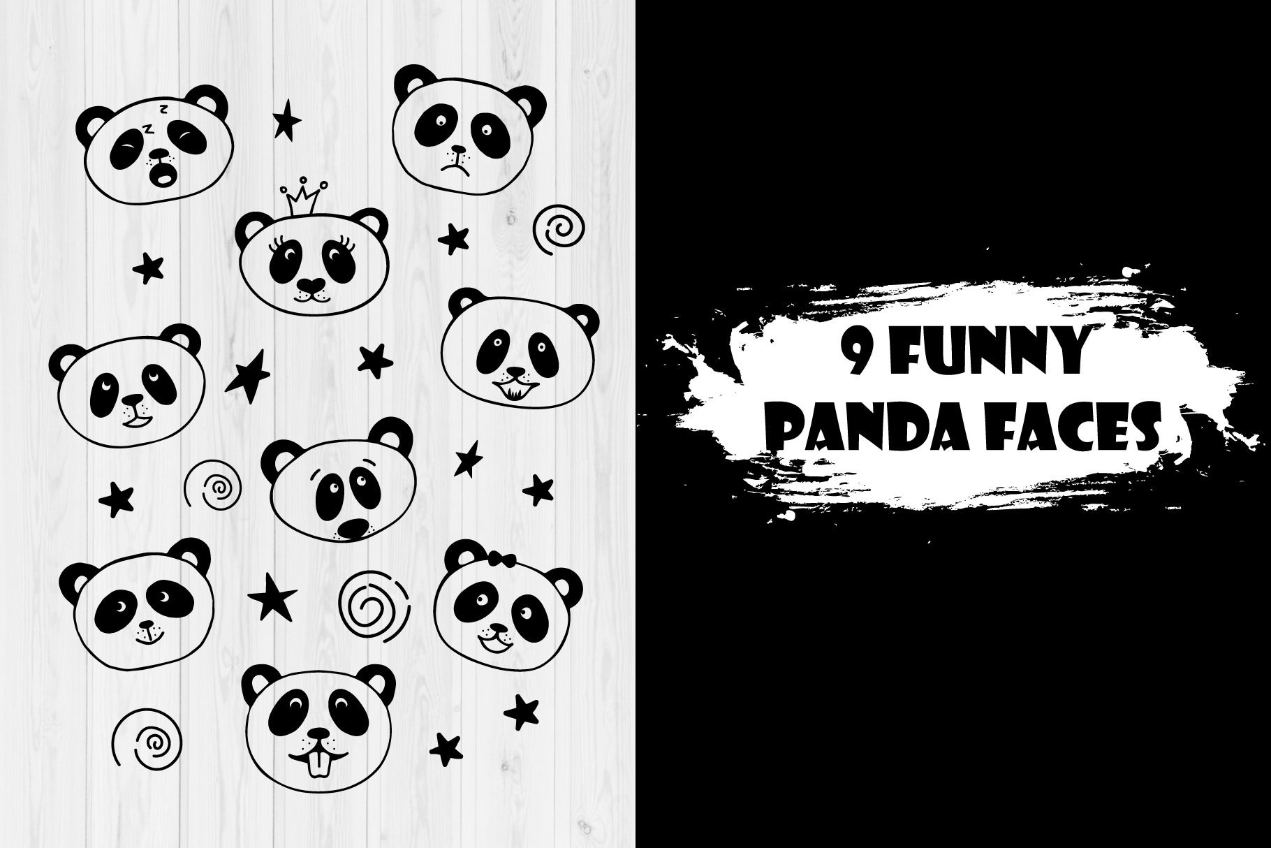 Collection of panda faces. example image 2
