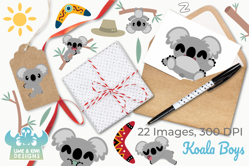 Koala Boys Clipart, Instant Download Vector Art example image 4