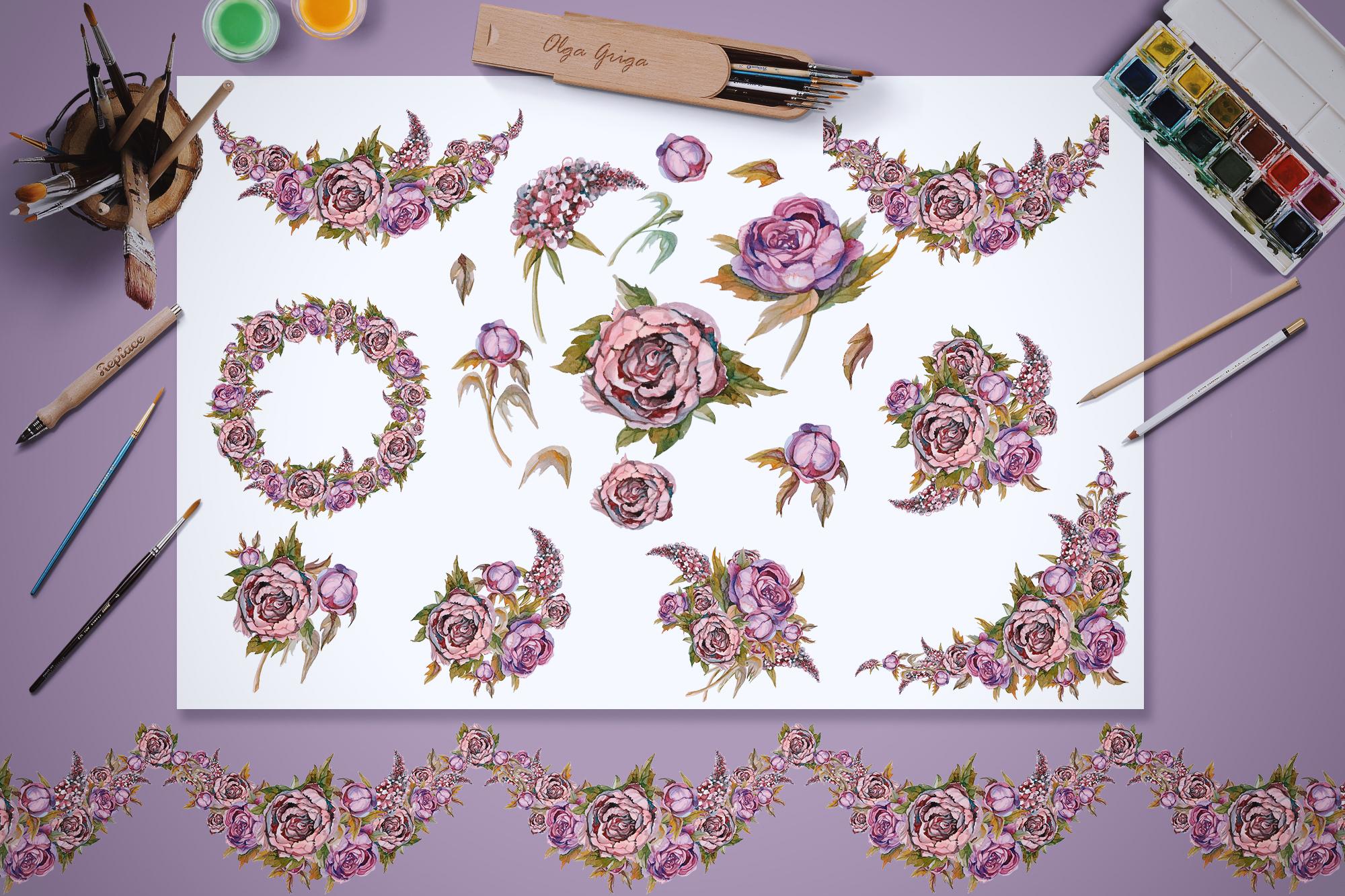 Watercolor flowers. Set of vintage flowers, painting. example image 2