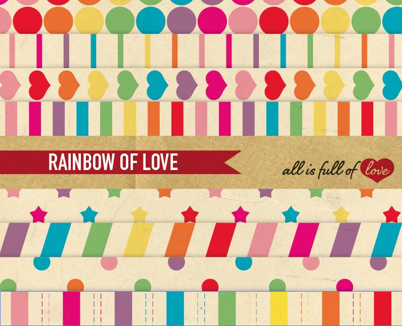 Vintage Digital Paper Rainbow Geometric Background Patterns  example image 1