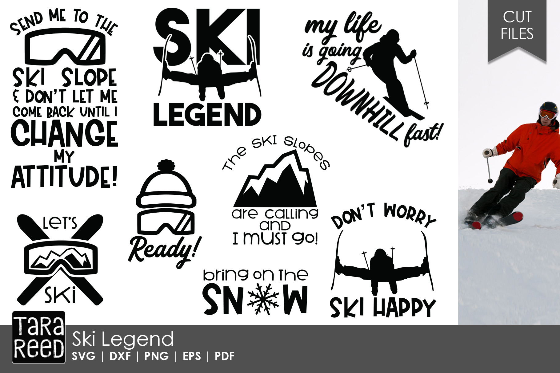 Ski Legend - Skiing SVG and Cut Files for Crafters example image 1