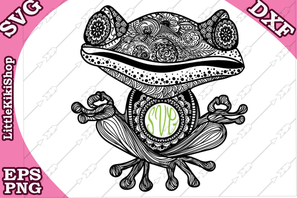 Yoga Frog Monogram Svg,Mandala Frog Svg,Yoga Svg,Funny Frog example image 2