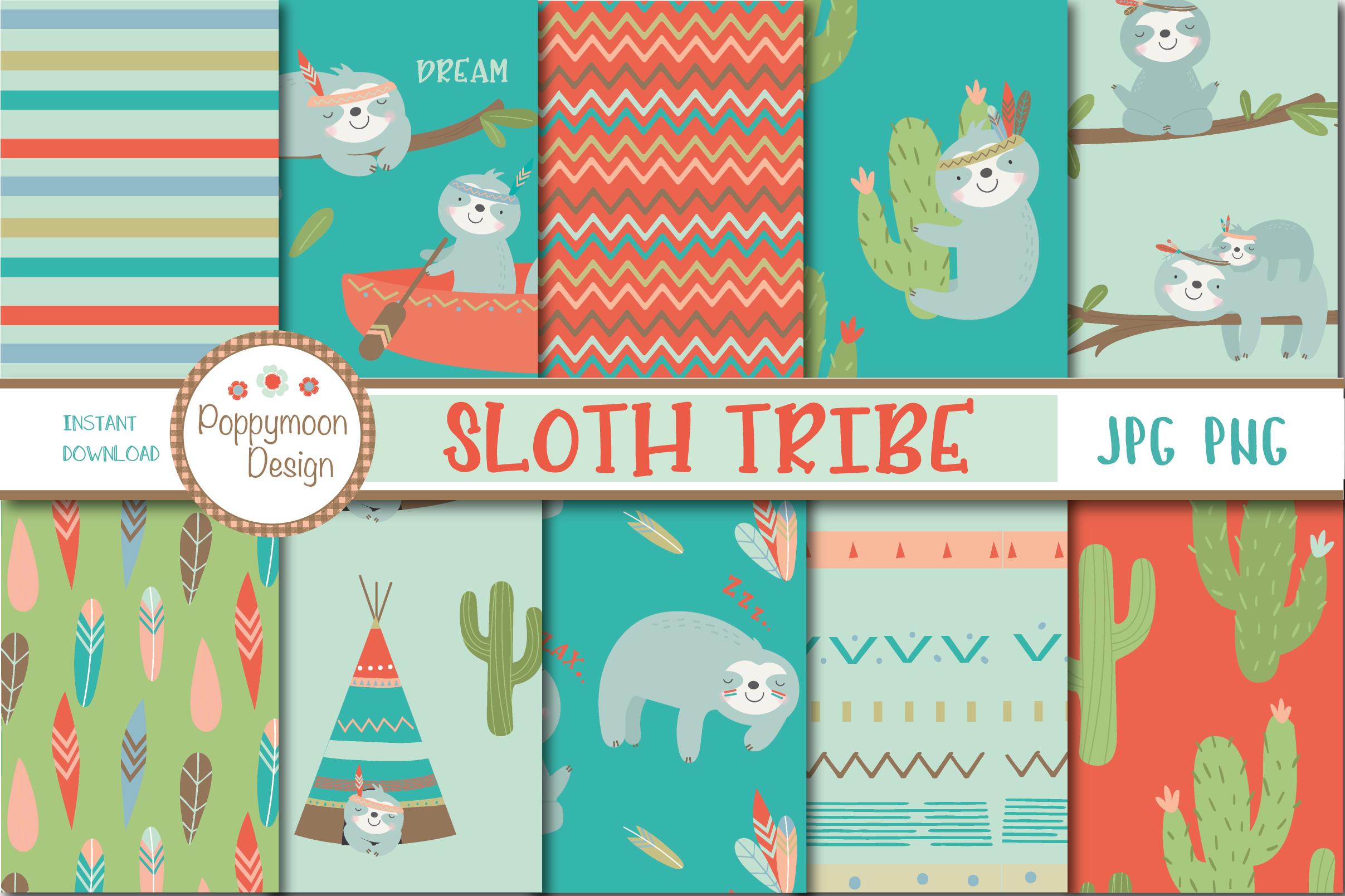 SLoth TRibe clipart and paper set example image 3