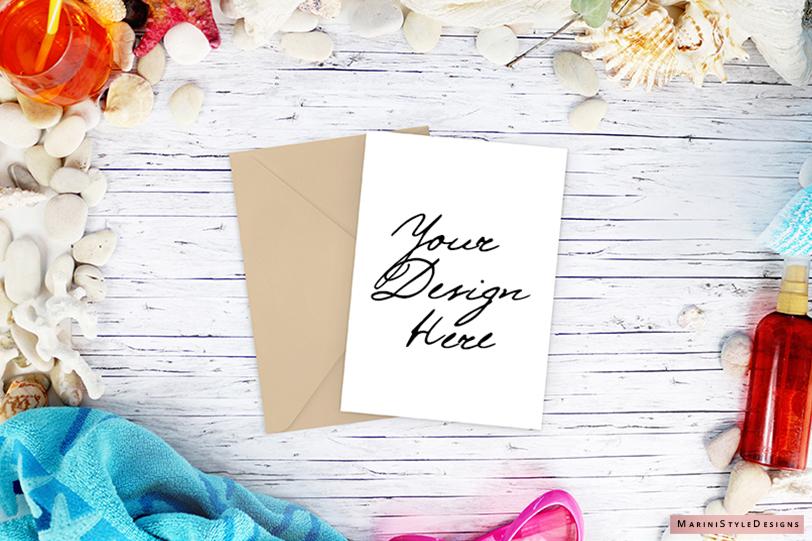 5x7 card mockup, summer beach styled invitation mockup 962 example image 1