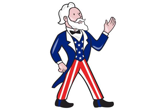 Uncle Sam Waving Hand Crest Cartoon example image 1