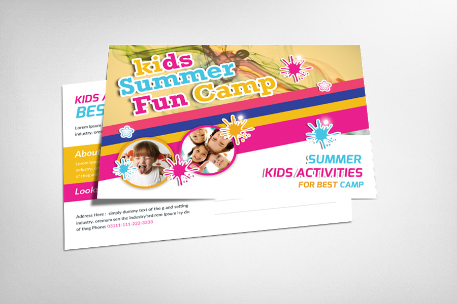 Kids Summer Camp Postcard Template example image 1