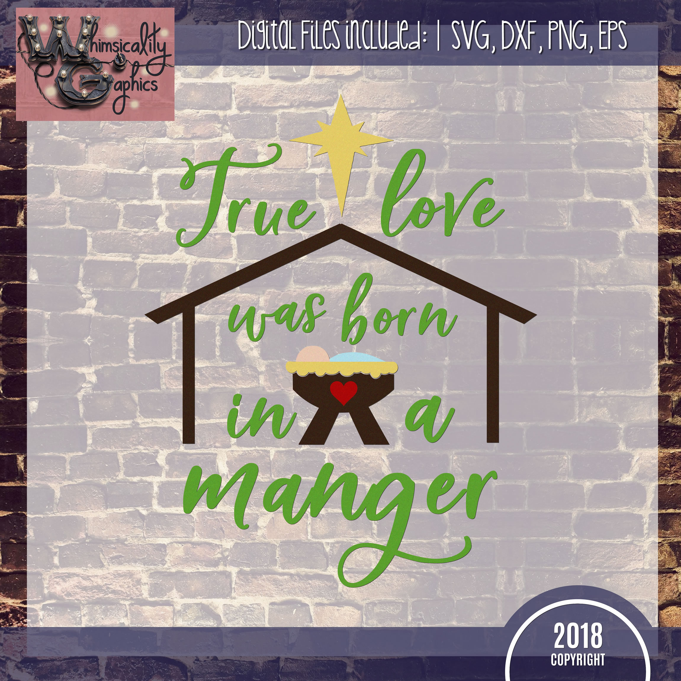 True Love Was Born In a Manger SVG DXF PNG JPG Comm example image 2