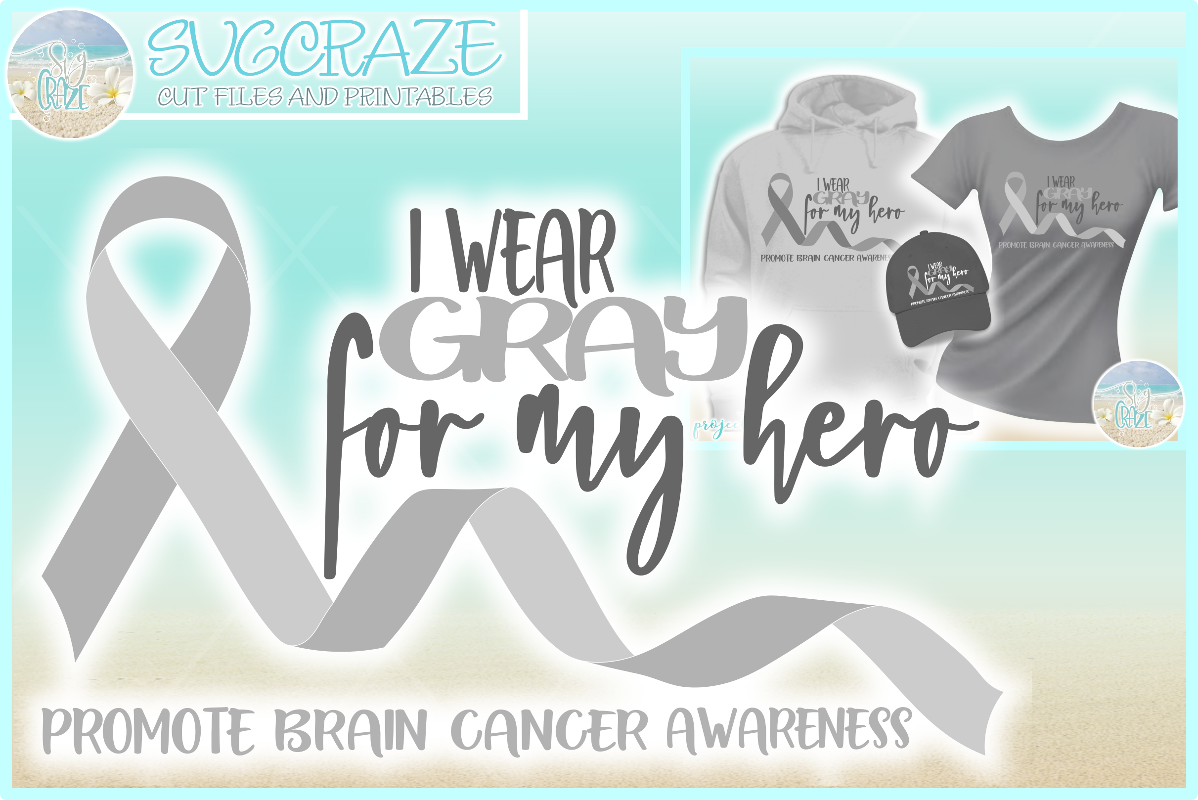 I Wear Gray For My Hero Brain Cancer Ribbon SVG example image 1