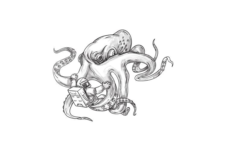 Giant Octopus Fighting Astronaut Tattoo example image 1