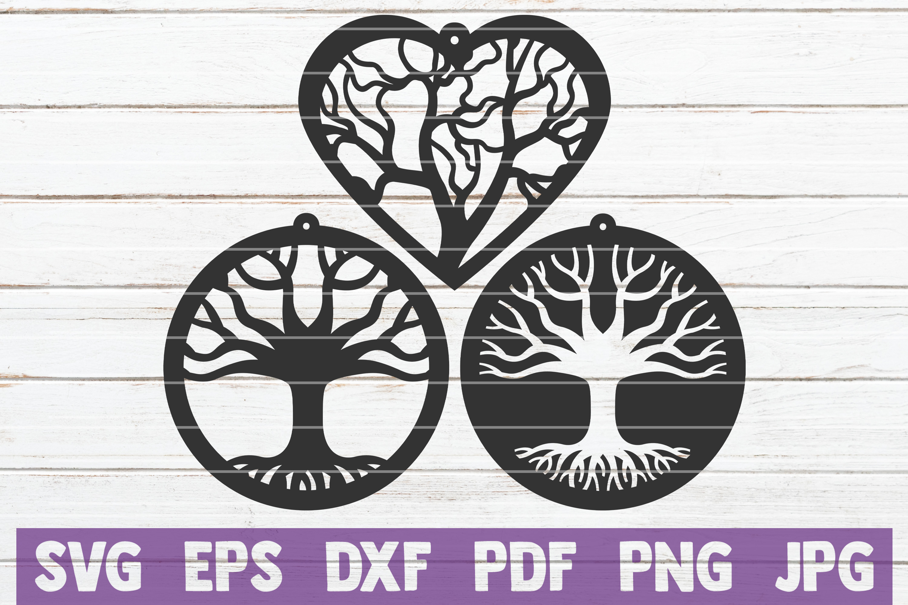 Tree Earrings SVG Cut File | commercial use example image 1