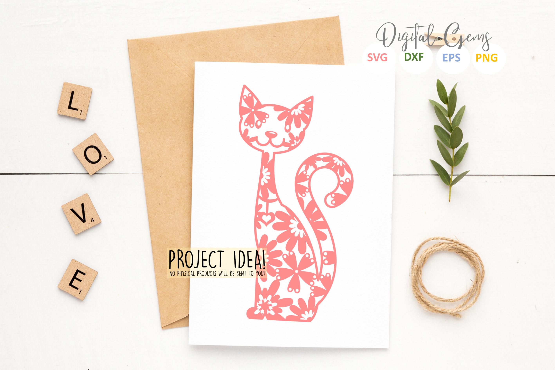 Cat paper cut Bundle. SVG / DXF / EPS / PNG example image 5