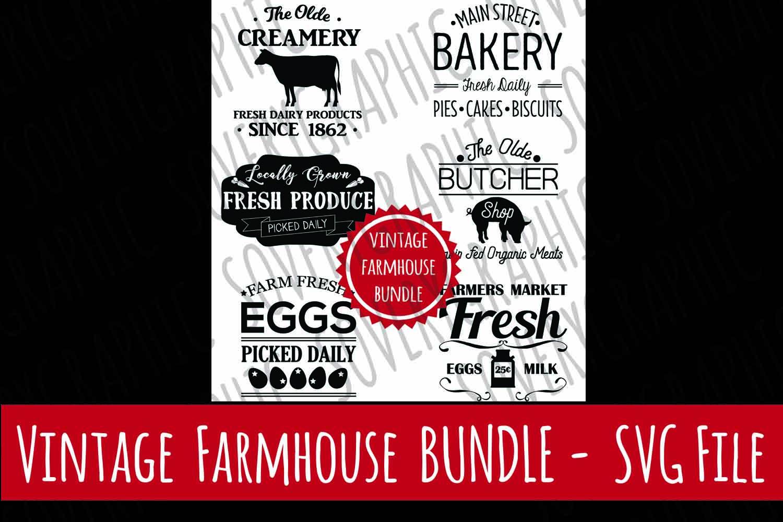 Vintage Farmhouse Sign BUNDLE   6 Files  SVG   PNG example image 1