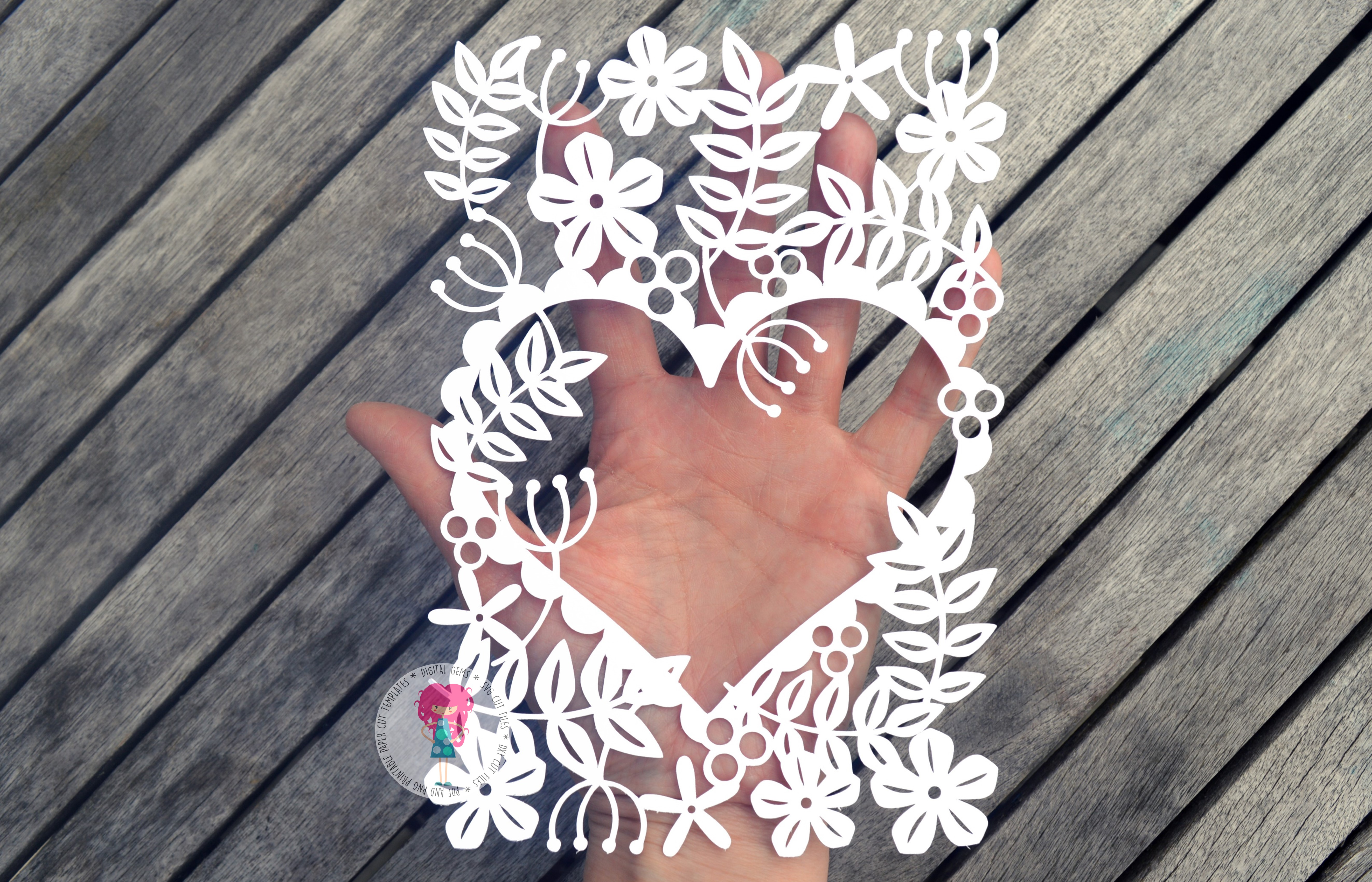 Heart Of Flowers Paper Cut SVG / DXF / EPS File example image 3