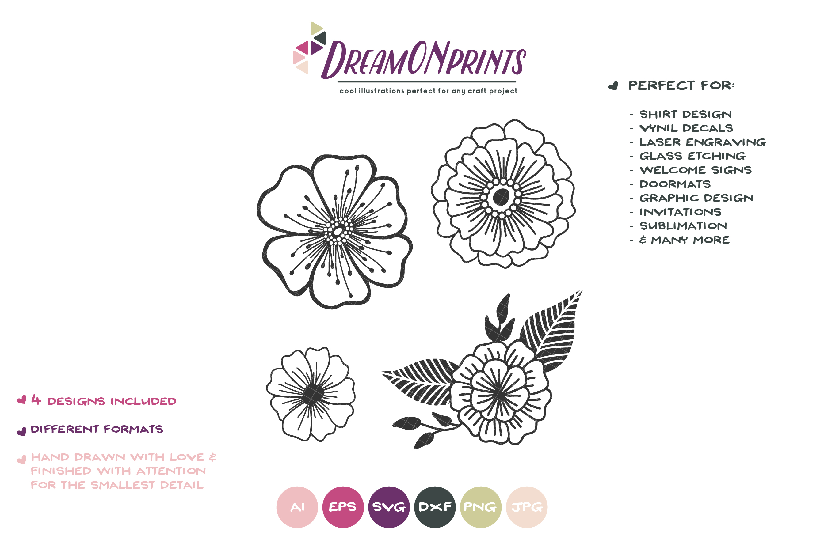 Flowers SVG Cut Files| Flower Illustrations example image 2