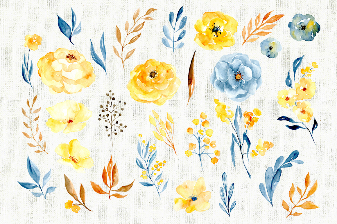 Watercolor flowers, branches, leaves example image 3