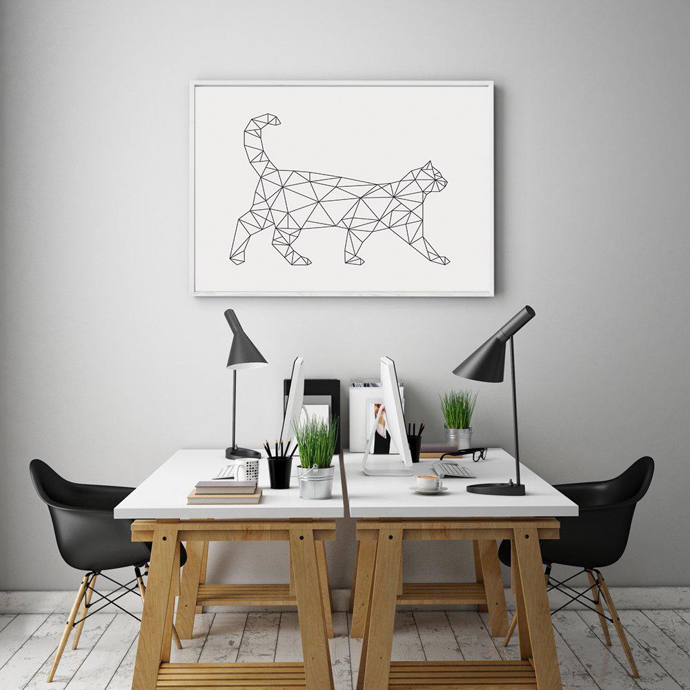 Geometric Cat Print, Minimalist Wall Art Download example image 3