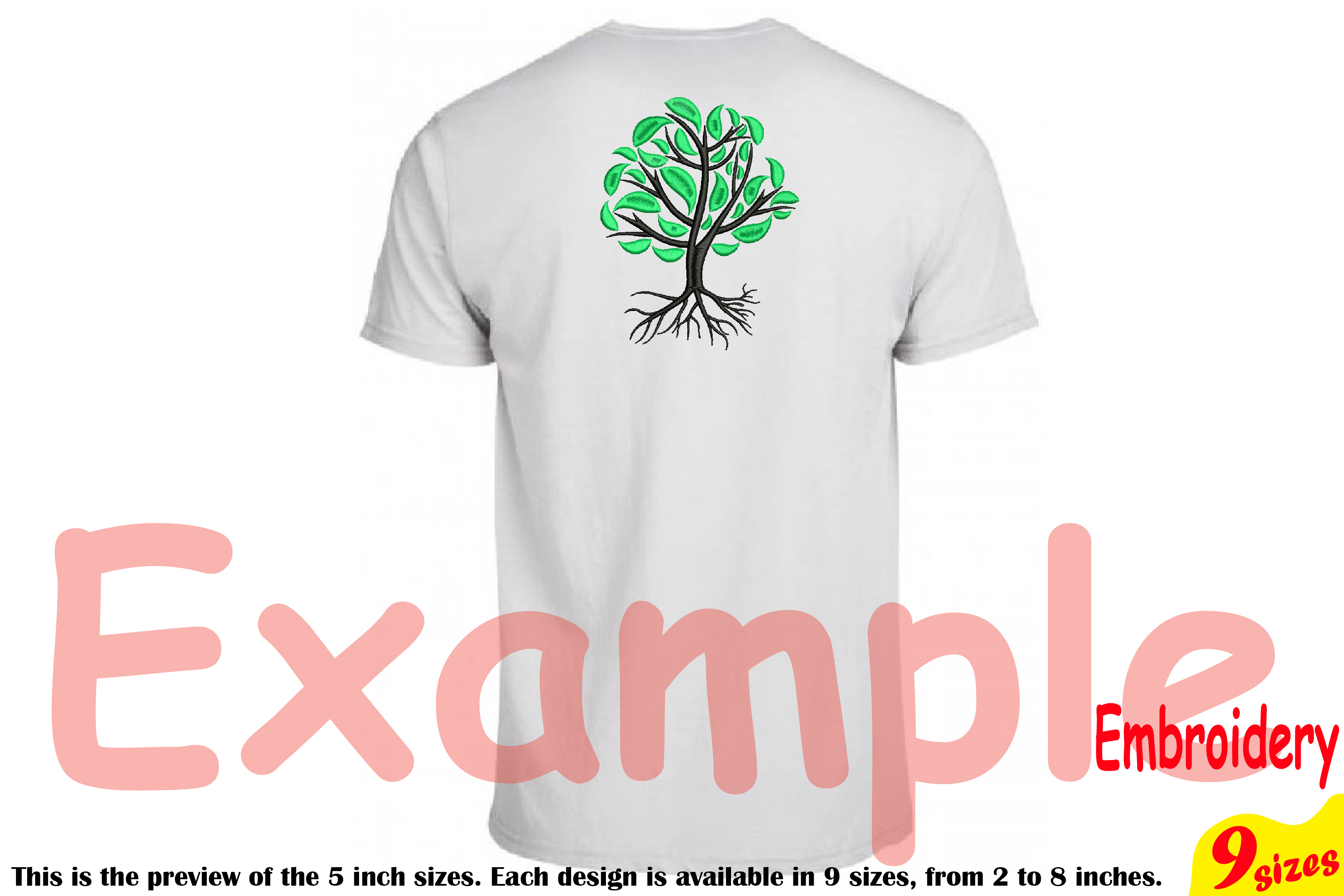 Family Tree Embroidery Design Machine Instant Download Commercial Use digital Outline family love Deep Roots Branches 204b example image 2