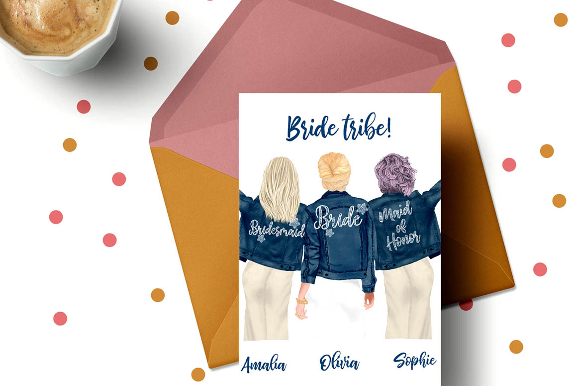 Wedding clipart,Bridesmaid clipart, Bride in Jackets clipart example image 2