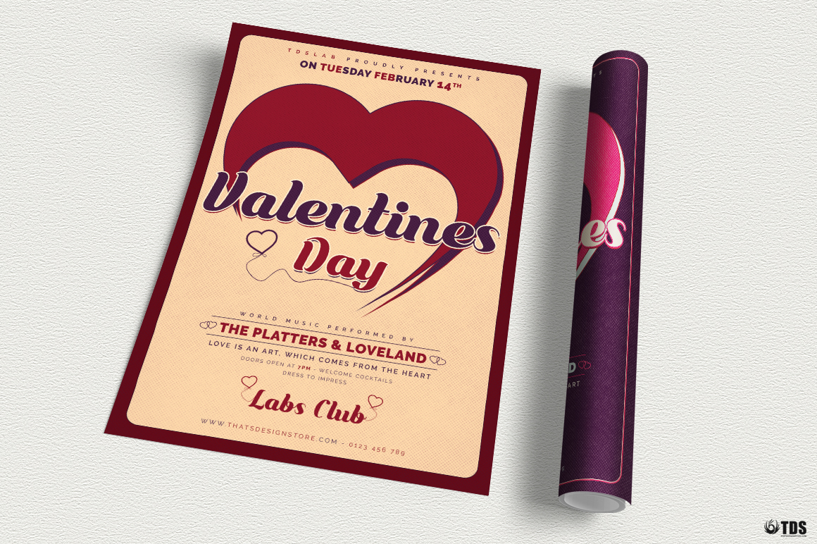 Valentines Day Flyer Template V9 example image 3